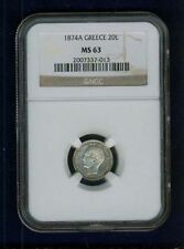 Greece Kingdom 1874 20 Lepta Coin, Choice Uncirculated, Certified Ngc Ms63