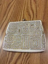 """Vintage Walbaeg """"Silver & Gold� Pearly White Beaded Evening Bag Purse See Detail"""