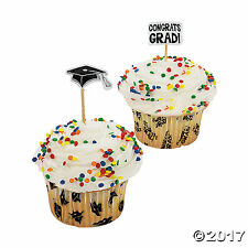 200 Graduation Cupcake Baking Cups with Picks Graduation Assorted Pick Toppers