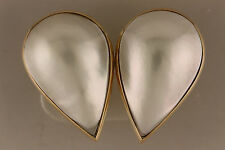 Pear shaped Mabe Pearl 22x14mm Earrings in 14K Yellow Gold