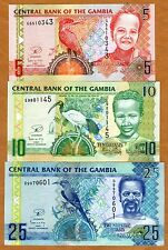 SET Gambia, 5;10;25 Dalasis, ND (2006), 2013 Issue, P-25-26-27-New, UNC