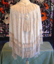 Antique Hand Embroidered Silk Shawl Cape