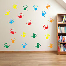 Hand Print Wall Stickers Nursery Playroom Child Kids School Window Colorful A25 Red Small