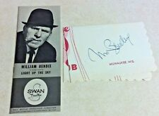 """WILLIAM BENDIX SIGNATURE AND 1962 SWAN THEATRE PLAYBILL """"Light Up The Sky"""" MILWA"""