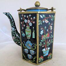 "Vintage ? 10"" Chinese Black Cloisonne Hexagon Teapot w/ Flowers & Bonsai Trees"