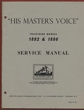 More details for  service manual 'his master's voice'  television models 1892 & 1896   ya.25