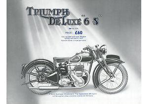 1939 Triumph De Luxe 6S 600cc motorcycle poster