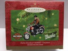 2001 Hallmark Keepsake Ornament - Harley Davidson Barbie riding 1990 FAT BOY