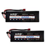 2pcs HRB 7.4V 5200mAh 50C 100C 2S Lipo Battery Hard Case RC Airplane Traxxas Car