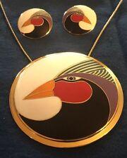 BOLD Large Harlequin Bird White Red Black 22KTGP Laurel Burch Earrings Pendant 2