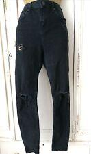 TOPSHOP MOTO JAMIE Black Ripped Jeans W28 L30 VGC