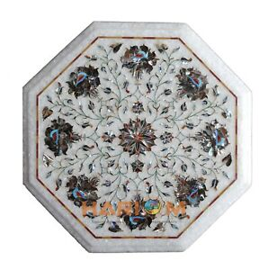 """13"""" Marble Coffee Table Top Pauashell Stone Inlay Floral Hallway Decor Arts W155"""