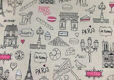 Leinenoptik Wertiger Dekostoff Paris Eiffelturm 140cm
