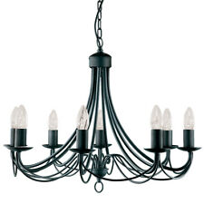 Searchlight 8 Lights Black Traditional Iron Ceiling Pendant Fitting Chandelier