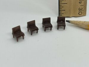 Dollhouse 1:144 scale 4 brown dining chairs