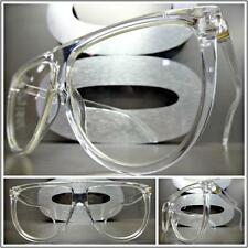 OVERSIZED VINTAGE RETRO SHIELD Style Clear Lens EYE GLASSES Transparent Frame