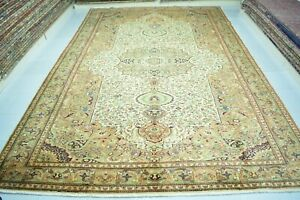 Hand Knotted Wool Rug 9x12,Faded Vintage Turkish Rug,Large Anatolian Rug,Carpet