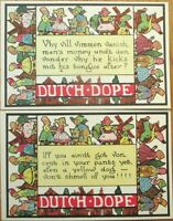 1920 'Dutch Dope' Greeting Postcards w/Sayings in Dutch Accent, Set of TWO