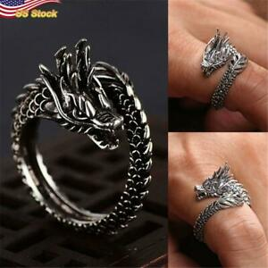 Stunning Open Ring 925 Silver Plated Dragon Vintage Jewelry Gift Adjustable