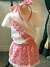 Handmade girl's outfit age 4-5 years complete with large bow headband