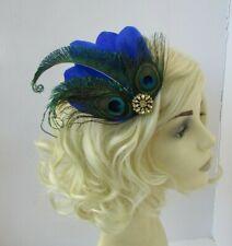Royal Blue Green Gold Peacock Feather Fascinator Hair Clip 1920s Cobalt vtg 0686