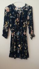 American Rag New 3/4 sleeve front button Navy Combo Floral Peasant Dress S NWT