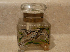 S20 ANTIQUE CRYSTAL CLEAR ART GLASS INKWELL ENAMEL FLYING BIRDS