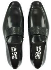 NEW SALVATORE FERRAGAMO COLUMBUS BLACK LEATHER GANCINI PRINT LOAFERS SHOES 10.5