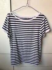 MARCS Shimmering Blue & White Stripes T-Shirt Top Blouse-M-Wore once