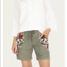 NWT Johnny Was Beatriz Embroidered Linen Short Tor Green, Womens size Medium