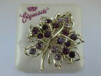 Vintage Exquisite Gold Tone Amethyst Tone Rhinestone Flower 1970s Brooch Pin
