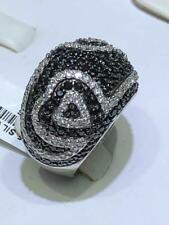 Platinum Sterling Silver Black & White Sapphire Pave Heart Design Band Rings Sz8