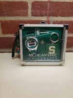 Michigan State Trojans Watch Rock Box Three (3) Piece Gift Set NWT