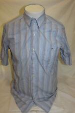 Lacoste Blue Stripe Short Sleeve Button Front Shirt Size 38 RN 87651 CA 16998