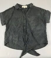 Cloth & Stone Gray Black Short Sleeve Top Shirt Button Tie Front Oversized XS