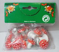 """Vtg MUSHROOM 1"""" Spun Cotton Picks 2 Pkgs Avlble GERMANY Red & White Polka Dot #2"""