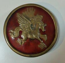 Vintage Indiana Metal Craft Brass and Enamel Pegasus Belt Buckle 1976