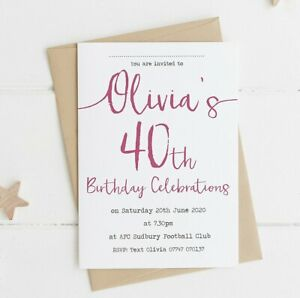 Handmade 21st/30th/40th/50th/60th/70th Birthday Party Invitations Personalised