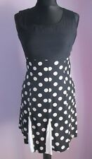 VTG Ladies J.BRAUN Black/White Polka Dot Dress With Kick Pleats Size 8