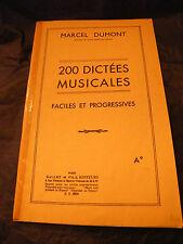 Partition 200 dictées musicales faciles et progressives Marcel Dumont
