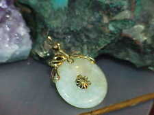 ANTIQUE 14K CHINESE JADE JADEITE COIN DISC PENDANT YELLOW GOLD