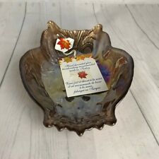 Stylesetter Bronze Brown Glass Owl Candy Trinket Dish Made in Turkey