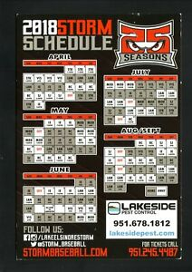 Lake Elsinore Storm--2018 Magnet Schedule--Padres Affiliate