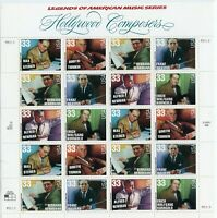 SCOTT #3339-44  SOUVENIR SHEET HOLLYWOOD  COMPOSERS  33 CENT  MNH