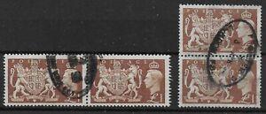 SG512. 1951 £1 Brown. Vertical & Horizontal Used Pairs. Cat.£72.   Ref:1/59