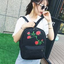 Women Girl Embroidery Backpack Cavans Travel College School Bag Rucksack Small