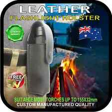 LEATHER BELT  HOLDER HOLSTER SHEATH for FLASHLIGHT TORCH KNIFE QUICK RELEASE BK