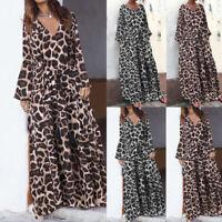 Mode Femme Tempérament Plissé Manche Longue Col V Leopard Robe Drese Maxi Plus
