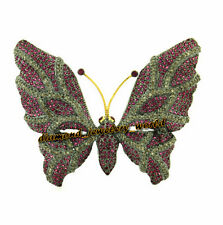 Studded Silver Butterfly Brooch Pin Jewelry Vintage 3.88ct Rose Cut Diamond Ruby