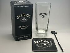 JACK DANIELS TALL GLASS, COASTER & STIRRER - WHISKEY WHISKY TUMBLER BOXED PUB
